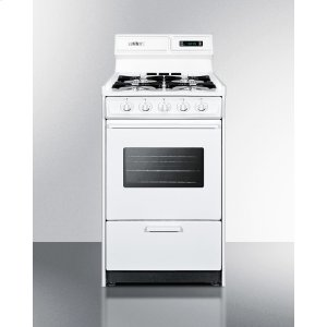 """SummitDeluxe Gas Range In Slim 20"""" Width With Electronic Ignition, Digital Clock/timer, Oven Window and Light"""
