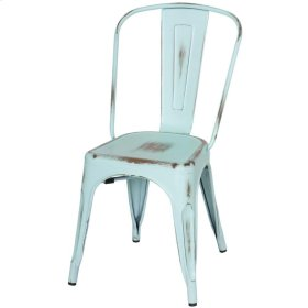 Metropolis Metal Side Chair, Distressed Aqua