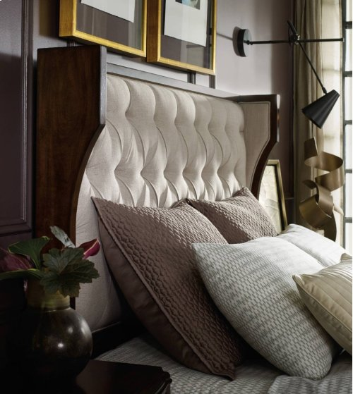Palisade Upholstered Shelter King Bed - Taupe Fabric