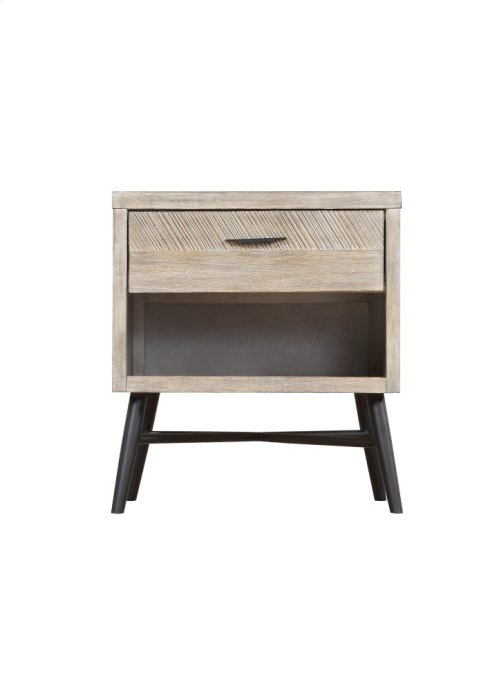 Emerald Home Nova End Table Wood W/1 Drawer Sterling Gray-black Metal Legs T700-01