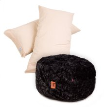 Pillow Pod Footstools - Faux Fur - Black
