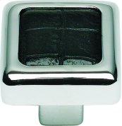Paradigm Square Knob 1 1/4 Inch - CH & Black Croc Leather