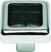 Paradigm Square Knob 1 1/4 Inch - CH & Black Croc Leather