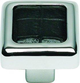 Paradigm Square Knob 1 1/4 Inch - PC & Black Croc Leather