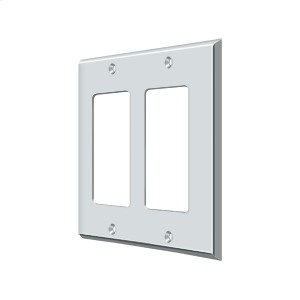 Switch Plate, Double Rocker - Polished Chrome