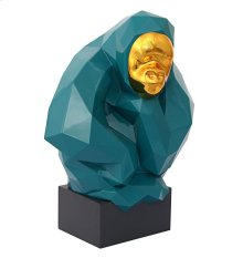 Pondering Ape Large Sculpture - Green and Gold