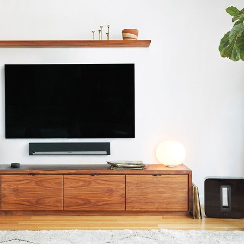Black- An easy and secure wall-mounting solution for Sonos Playbar.