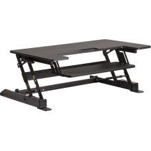 HERCULES Series 36.25''W Black Sit / Stand Height Adjustable Ergonomic Desk with Height Lock Feature and Keyboard Tray