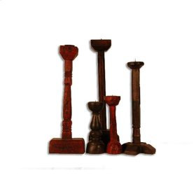 Old Assorted Candle Holder Wood
