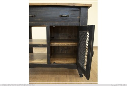 1 Drawer, 1 Mesh Door Kitchen Island - Black finish
