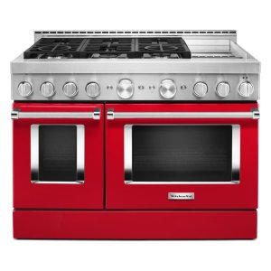 KitchenAidKitchenAid® 48'' Smart Commercial-Style Gas Range with Griddle - Passion Red