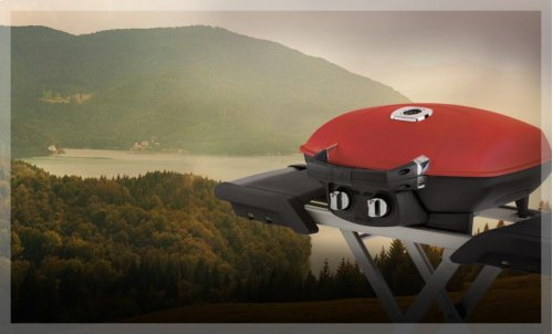 TravelQ 285 in Red and Scissor Cart with Griddle