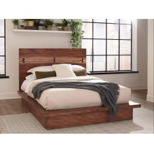 Rustic Smoky Walnut Eastern King Storage Bed