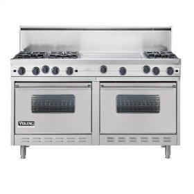 "Metallic Silver 60"" Open Burner Commercial Depth Range - VGRC (60"" wide, six burners 24"" wide griddle/simmer plate)"