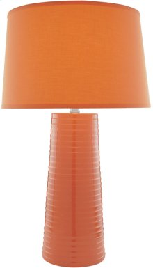 Ceramic Table Lamp, Orange W/fabric Shade, E27 Cfl 25w/3-way