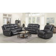 EM1196 Collection - 3 Piece Reclining Living Room Set with Power Headrests  USB  Charcoal Gray