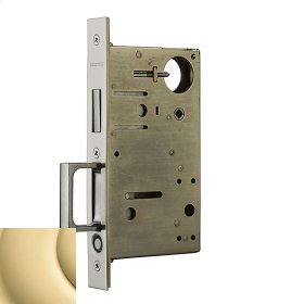 Polished Brass 8602 Pocket Door Lock with Pull
