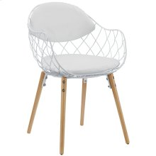 Basket Dining Metal Armchair in White White