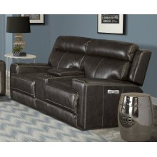 Glacier Graphite Power Console Loveseat