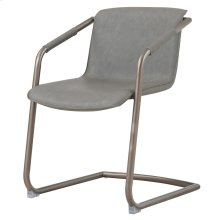 Indy PU Side Chair Silver Frame, Antique Graphite Gray