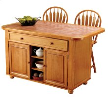 CY-KITT02-B24-LO3PC  3 Piece Light Oak Kitchen Island Set with Terracotta Rose Tile Top