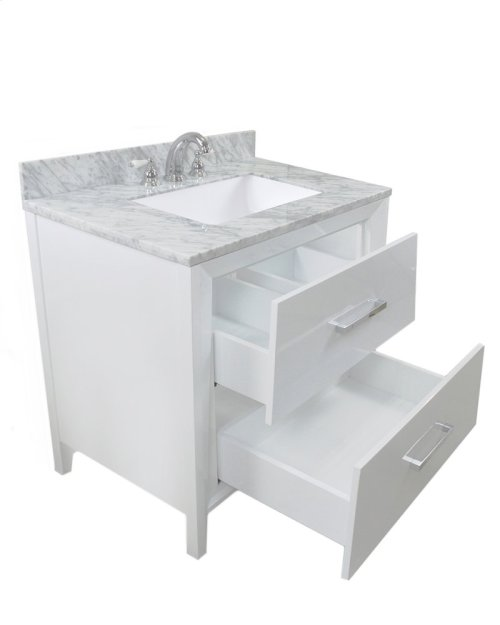 White CANTO 36-in Single-Basin Vanity Cabinet with Crema Marble Stone Top and Muse 20x13 Sink