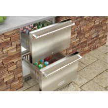 "NEW! 24"" Outdoor Refrigerated Drawers (Marvel Outdoor Series) - Solid Stainless Steel Door with Lock"