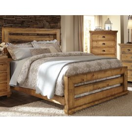 King Distressed Pine Slat Bed