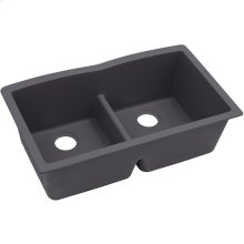 """Elkay Quartz Luxe 33"""" x 19"""" x 10"""", Equal Double Bowl Undermount Sink with Aqua Divide, Charcoal"""