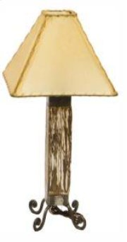 White Dark Wood & Iron Lamp Product Image