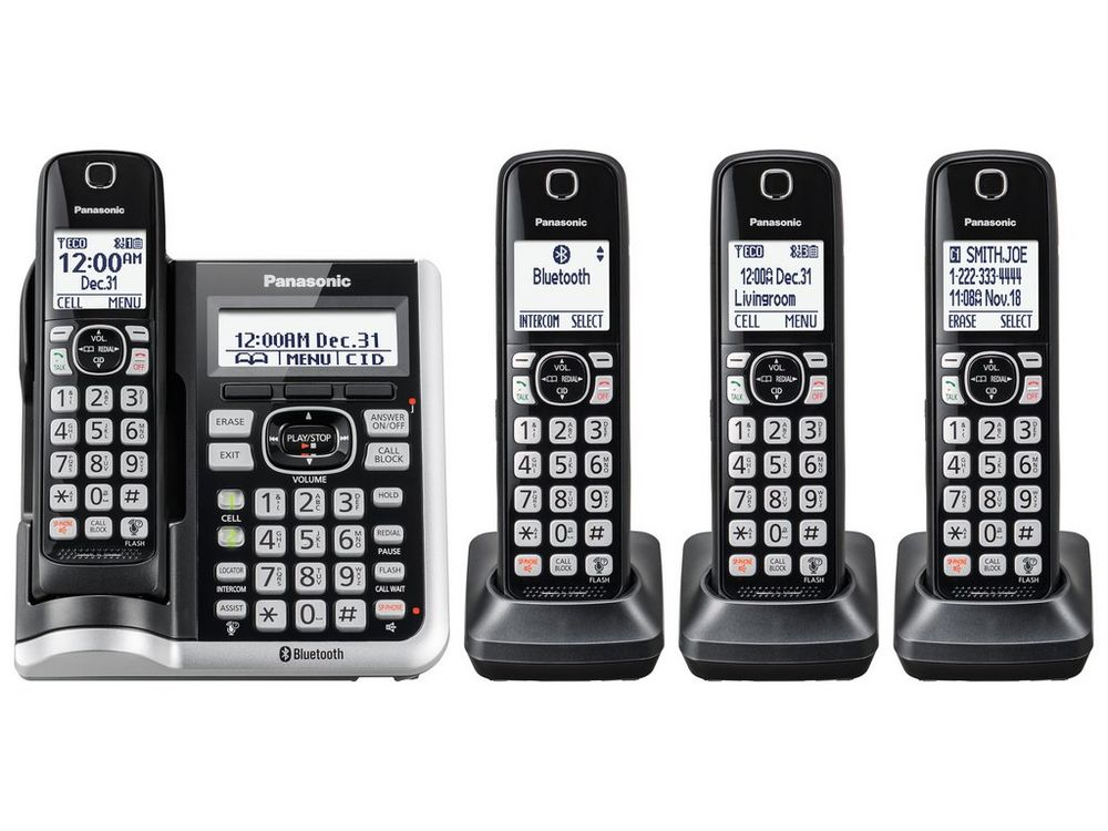 Link2Cell Bluetooth(R) Cordless Phone with Answering Machine - 4 Handsets - KX-TGF574S  SILVER