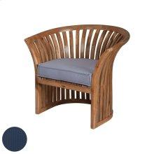 Teak Barrel Chair in Euro Teak Oil with Single Outdoor Navy Cushion