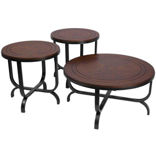 Signature Design by Ashley Ferlin 3 Piece Occasional Table Set [FSD-TS3-65DB-GG]