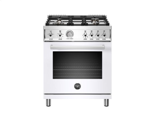30 inch 4-Burner, Gas Oven White