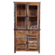 Keller Rustic China Cabinet With Louvered Doors Product Image
