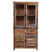 Keller Rustic China Cabinet With Louvered Doors