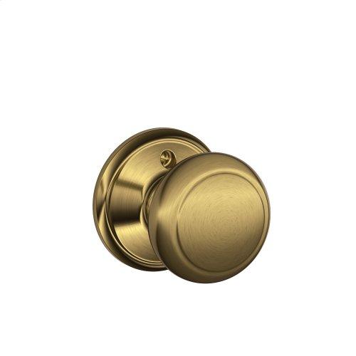 Andover Knob Non-turning Lock - Antique Brass