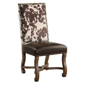CRESTVIEW COLLECTIONSMesquite Ranch Leather and Faux Cowhide Side Chair