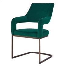 Raquel KD Velvet Fabric Chair Rubbed Gold Legs, Jade Green