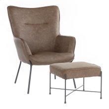 Izzy Lounge Chair + Ottoman Set - Black Metal, Espresso Pu
