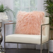 "Faux Fur Bj101 Rose 20"" X 20"" Throw Pillows"