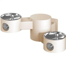 Elkay Outdoor Drinking Fountain Wall Mount, Bi-Level, Non-Filtered Non-Refrigerated, Beige