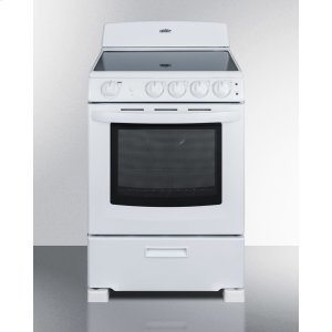 "Summit24"" Wide Smooth-top Electric Range In White, With Lower Storage Drawer and Oven Window; Available Winter 2018"