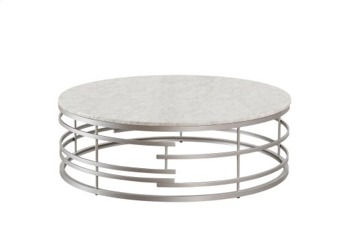 Large Round Cocktail Table with Faux Marble Top