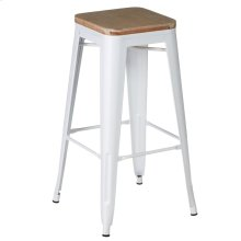 White Enamel Bar Stool with Wood Top