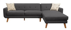 Sofa/chaise-lsf Loveseat-rsf Chaise-charcoal W/2 Accent Pillows
