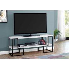 "TV STAND - 60""L / WHITE / BLACK METAL"