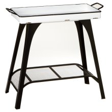 Black & White Enamel Tray Table.
