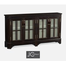 Dark Ale Parquet Welsh Bookcase with Strap Handles