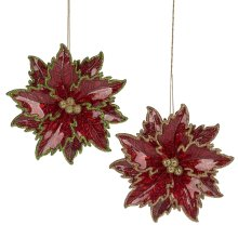 Poinsettia Ornament. (12 pc. ppk.)